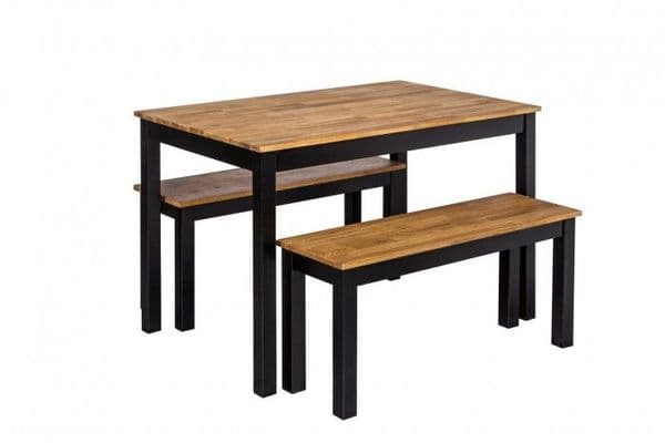 Thonon Black Frame With Oiled Wood Dining Table Bench 19LD374